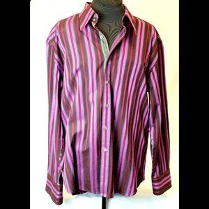 Robert Graham Men's Shirt Size 2XL Purple Striped